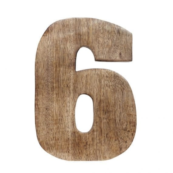 Number, 6, mango wood