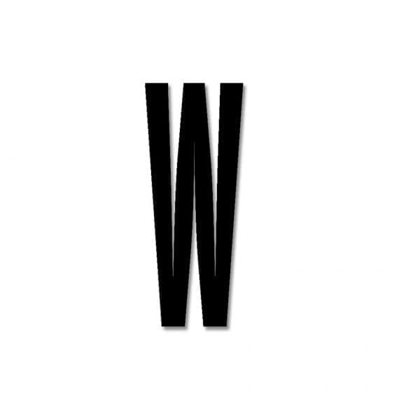 אות W אקרילי שחור