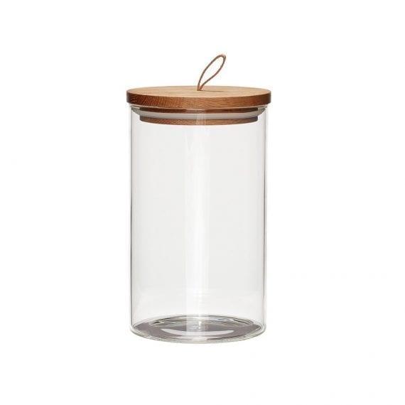 צנצנת זכוכית גדולה  עם מכסה עץ אלון