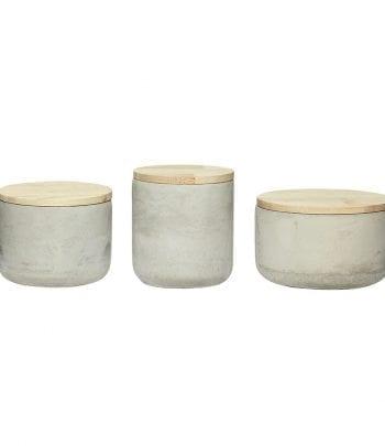 סט שלוש צנצנות  בטון עם מכסה עץ