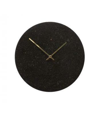 דקורציה לקיר - שעון שיש שחור זהב