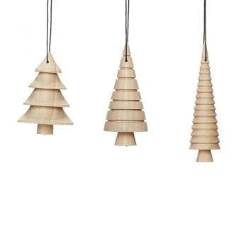 סט שלושה קישוטי עץ