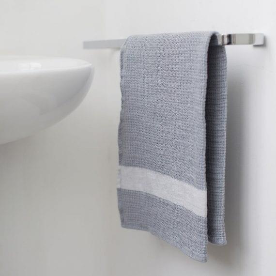 טקסטיל לבית - מגבת ידיים פיקה- אפור לבן