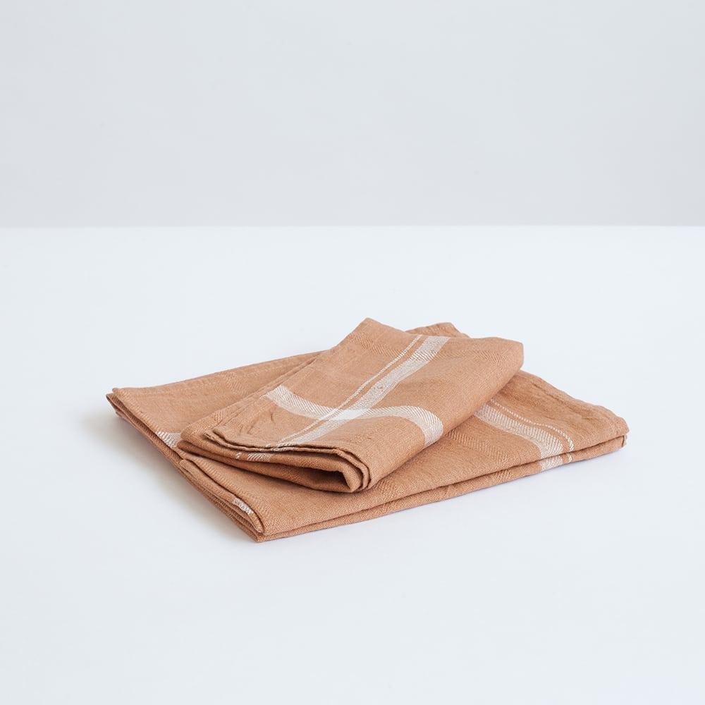 מגבת מטבח פשתן טרקוטה