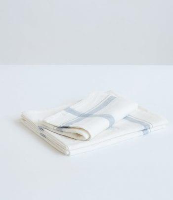 מגבת מטבח פשתן לבן פס תכלת