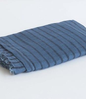 צעיף פשתן פסים כחול \ שחור