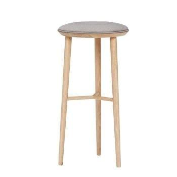 כסא בר גבוה מעץ עם כרית