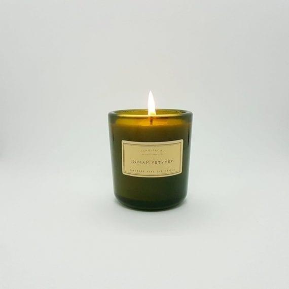 נרות ריחניים - נר סויה בזכוכית ירוקה