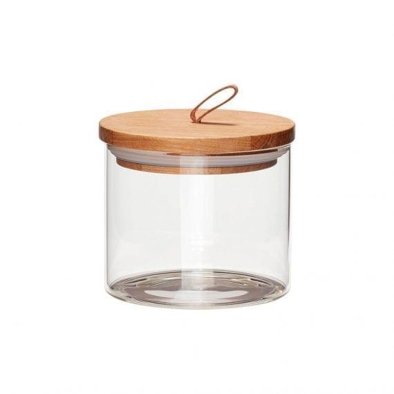 צנצנת איחסון מזכוכית עם מכסה עץ