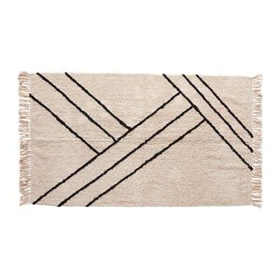 שטיח  כותנה שחור לבן 96\ 180