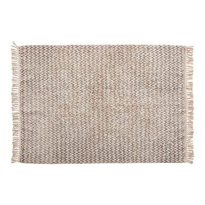 שטיח כותנה ארוג לבן ואפור 127180