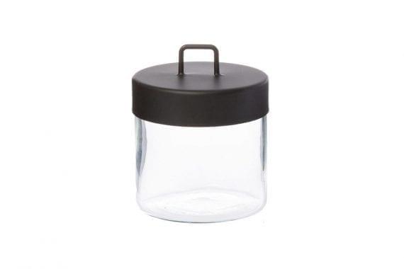 צנצנת איחסון זכוכית, בינוני, שחור