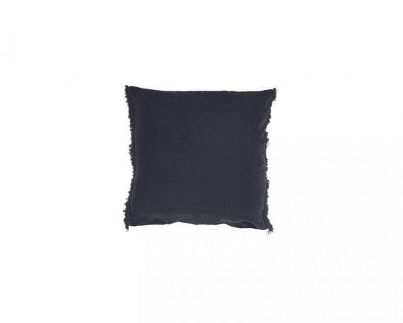 כרית פשתן ריבועית 65\65  אפור כהה עם פרנזים