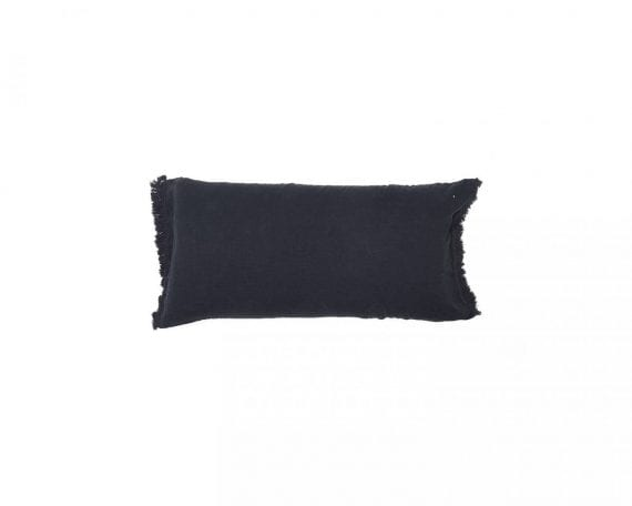כרית מלבנית 55/110 מפשתן אפור כהה עם פרנזים