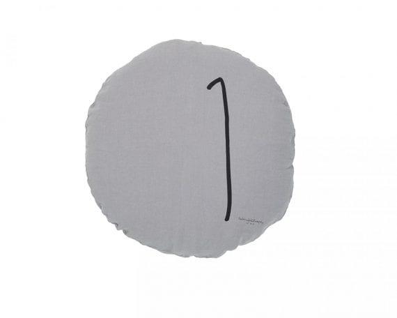 כרית פשתן עגולה אפור בהיר עם הספרה 1