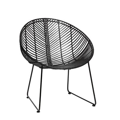 כסא ראטן שחור עגול