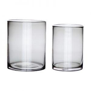 סט שני אגרטלי זכוכית, אפור