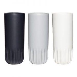 סט שלושה אגרטלי קרמיקה לבן, אפור ושחור