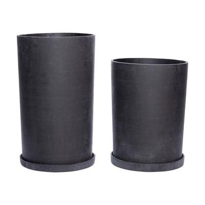 עציץ פיברסטון שחור עם תחתית