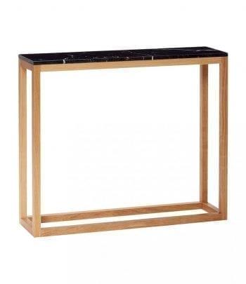 שולחן שיש  שחור גדול עם מסגרת עץ