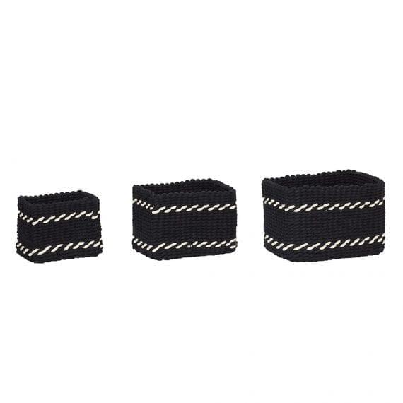 סלסלת אחסון  מרובעת שחור ולבן