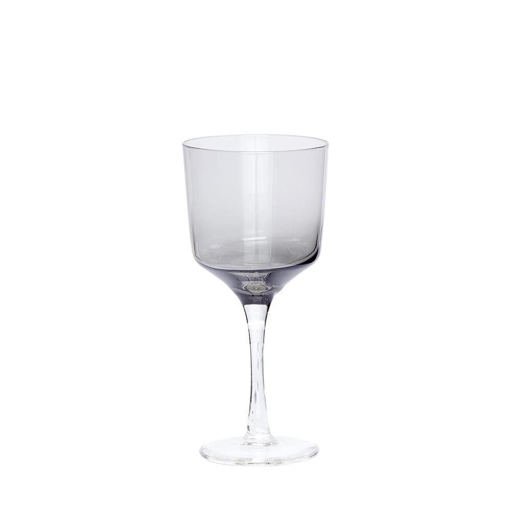 כוס יין לבן זכוכית אפורה