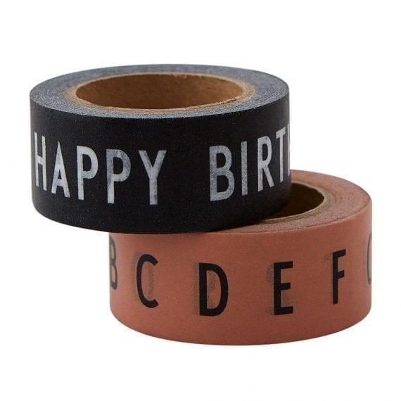 זוג ניירות דבק שחור וניוד happy birthday