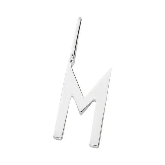 """תליון אות כסף  M 10 מ""""מ"""